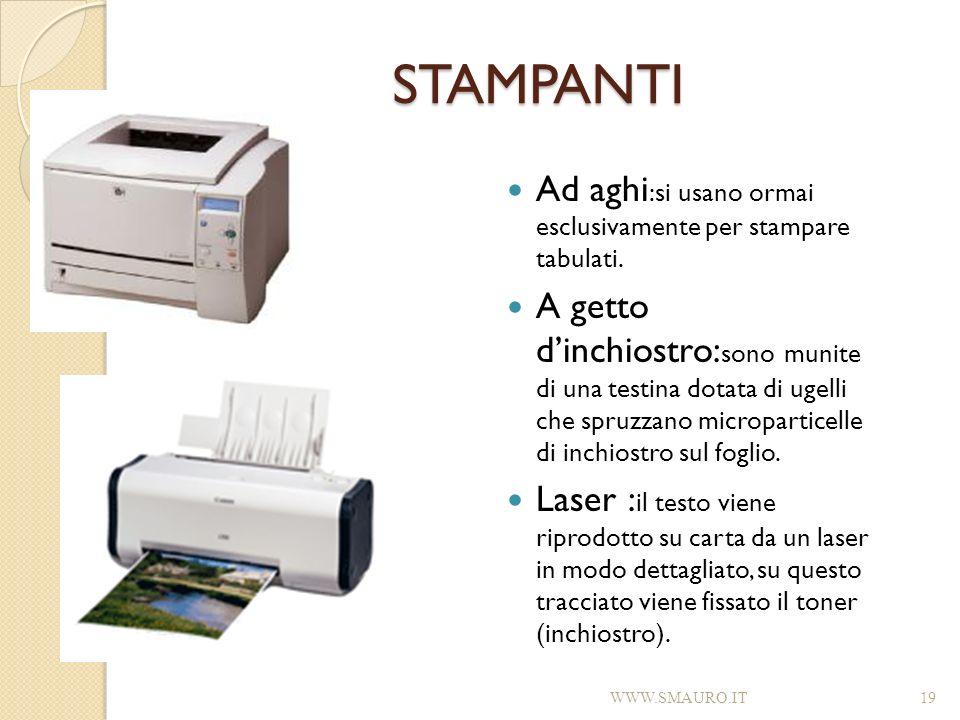 STAMPANTI Ad aghi:si usano ormai esclusivamente per stampare tabulati.