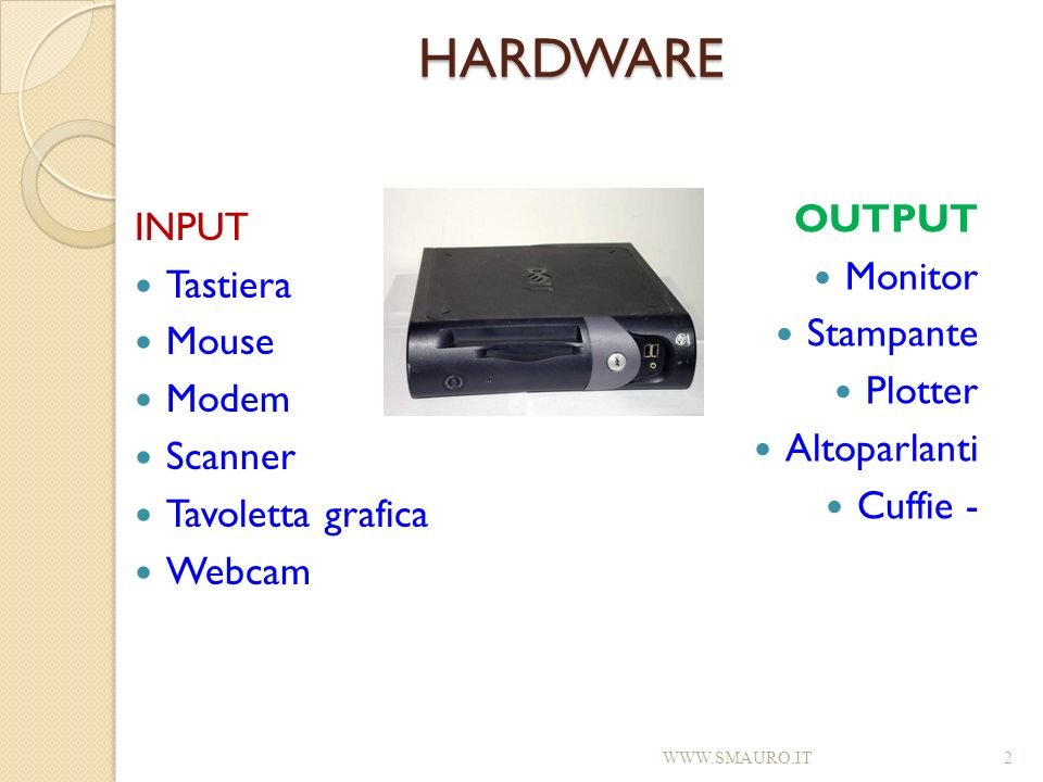 HARDWARE OUTPUT INPUT Monitor Tastiera Stampante Mouse Plotter Modem