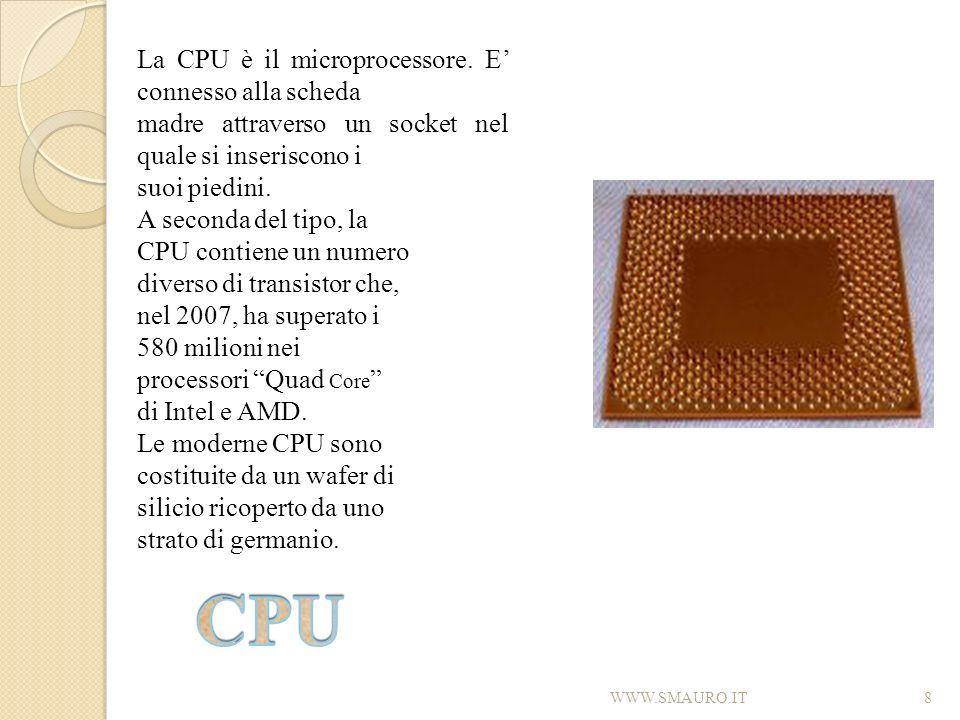 CPU La CPU è il microprocessore. E' connesso alla scheda