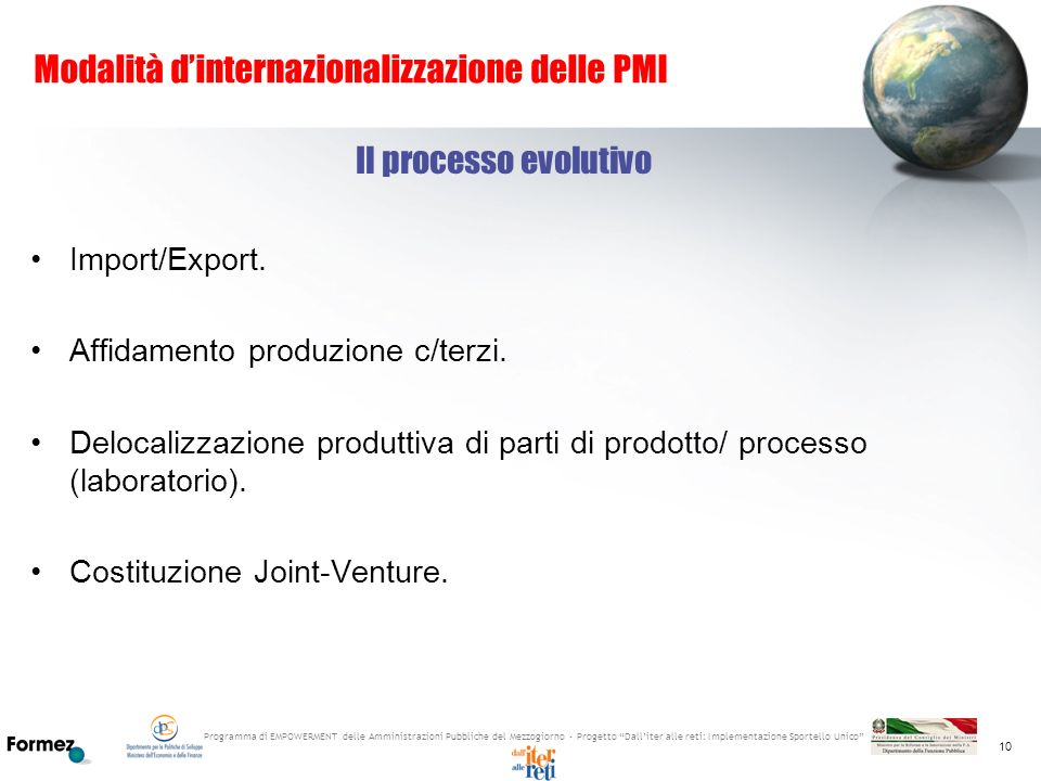 Modalità d'internazionalizzazione delle PMI
