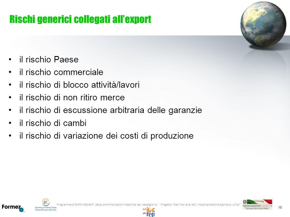 Rischi generici collegati all'export