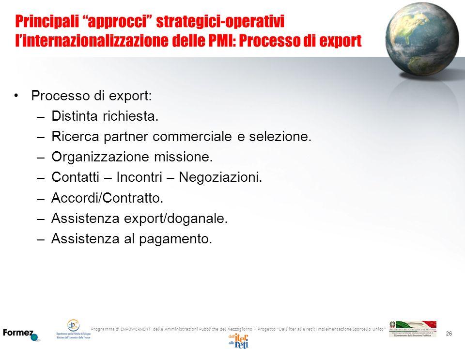 Principali approcci strategici-operativi l'internazionalizzazione delle PMI: Processo di export