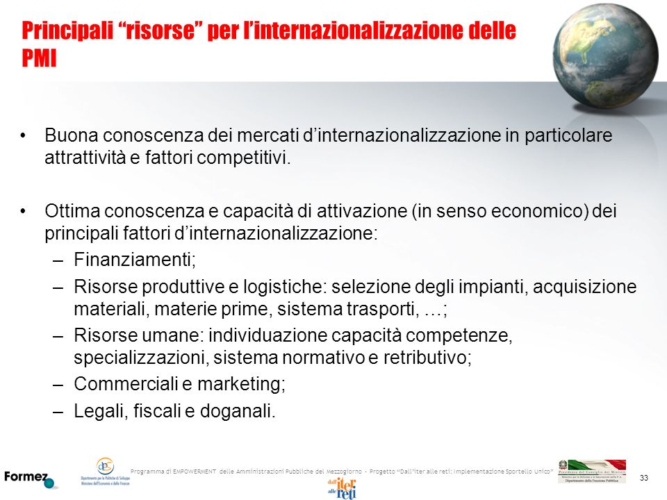 Principali risorse per l'internazionalizzazione delle PMI