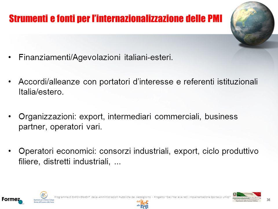 Strumenti e fonti per l'internazionalizzazione delle PMI