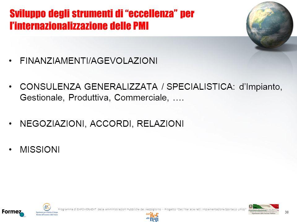 Sviluppo degli strumenti di eccellenza per l'internazionalizzazione delle PMI