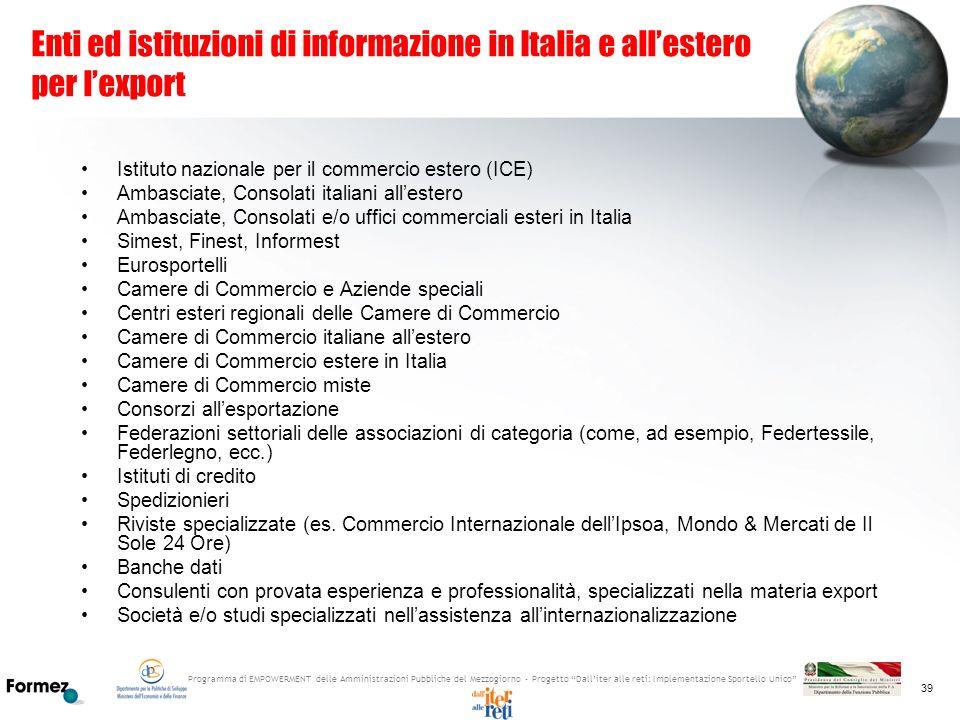 Enti ed istituzioni di informazione in Italia e all'estero per l'export