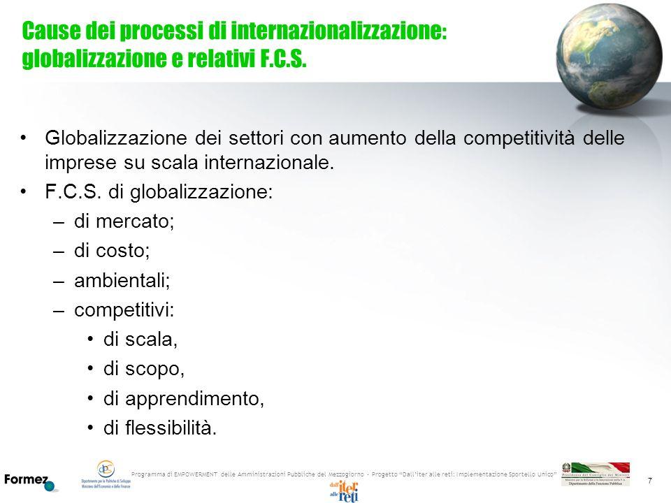 Cause dei processi di internazionalizzazione: globalizzazione e relativi F.C.S.