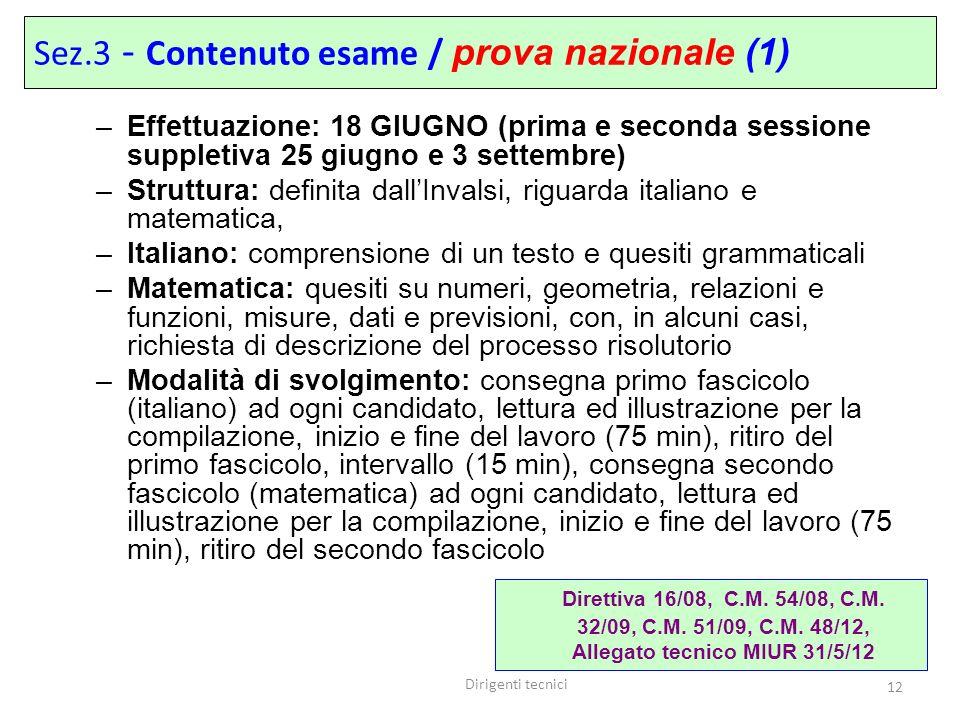 Sez.3 - Contenuto esame / prova nazionale (1)