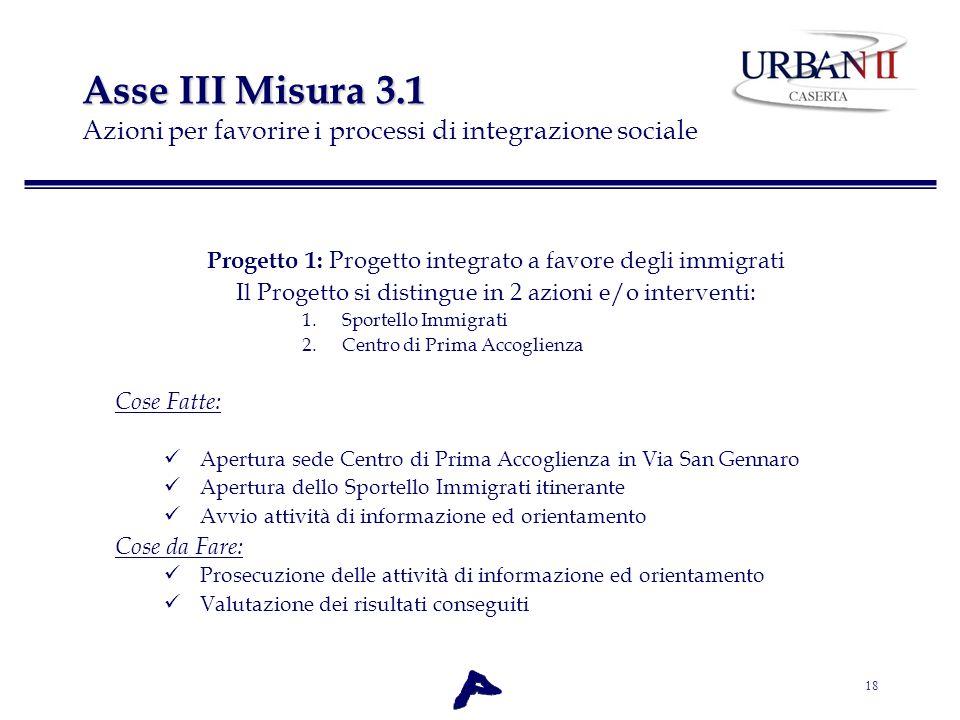 Asse III Misura 3.1 Azioni per favorire i processi di integrazione sociale