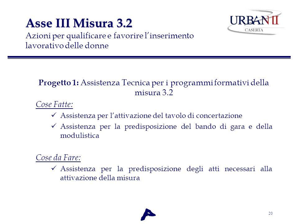 Asse III Misura 3.2 Azioni per qualificare e favorire l'inserimento lavorativo delle donne