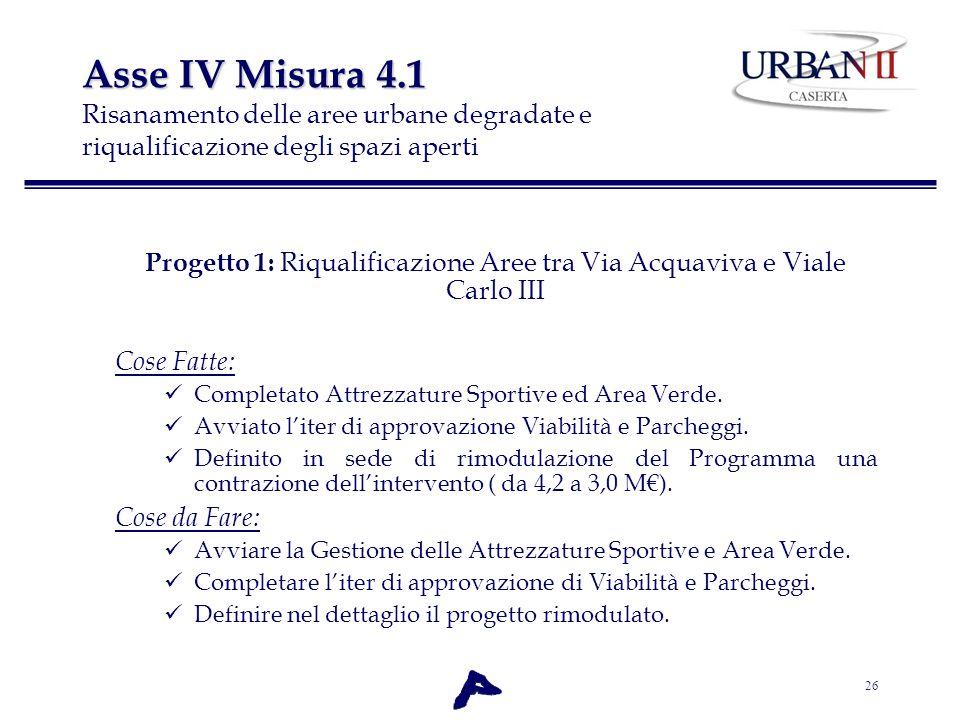 Progetto 1: Riqualificazione Aree tra Via Acquaviva e Viale Carlo III