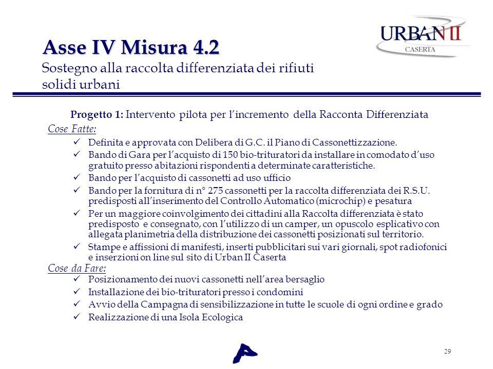 Asse IV Misura 4.2 Sostegno alla raccolta differenziata dei rifiuti solidi urbani
