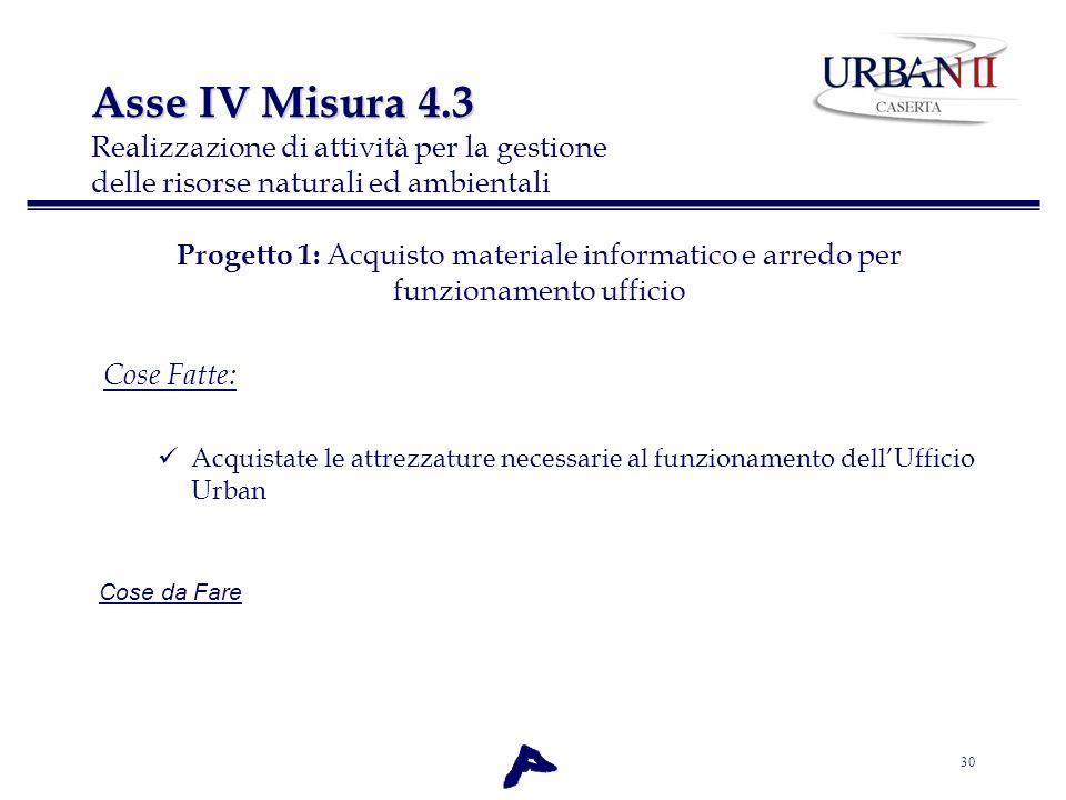 Asse IV Misura 4.3 Realizzazione di attività per la gestione delle risorse naturali ed ambientali