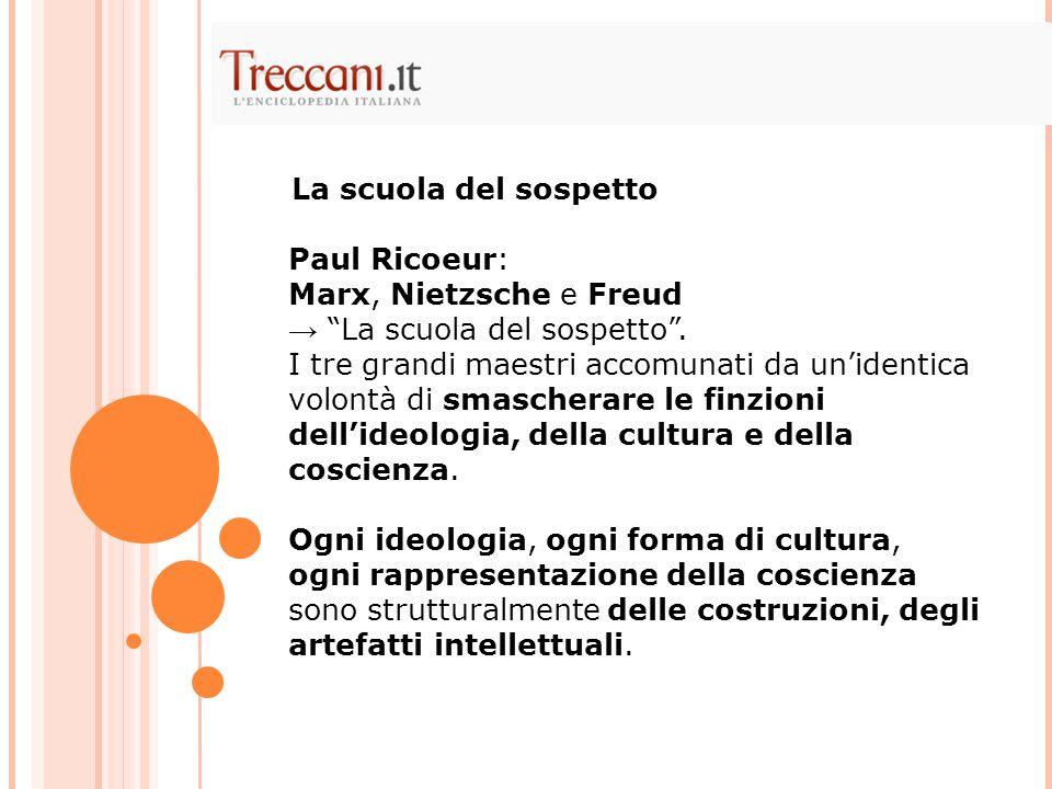 La scuola del sospetto Paul Ricoeur: Marx, Nietzsche e Freud. → La scuola del sospetto .