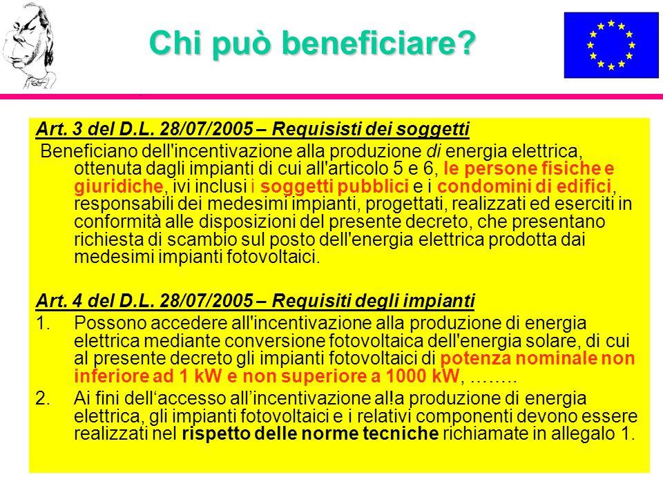Chi può beneficiare Art. 3 del D.L. 28/07/2005 – Requisisti dei soggetti.