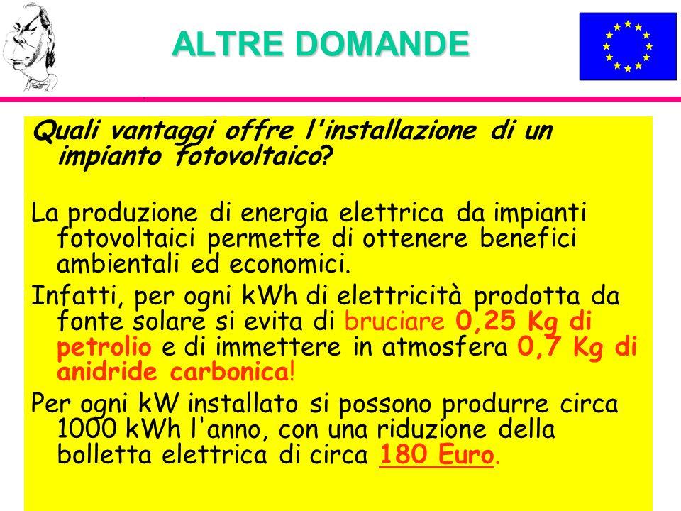 ALTRE DOMANDE Quali vantaggi offre l installazione di un impianto fotovoltaico