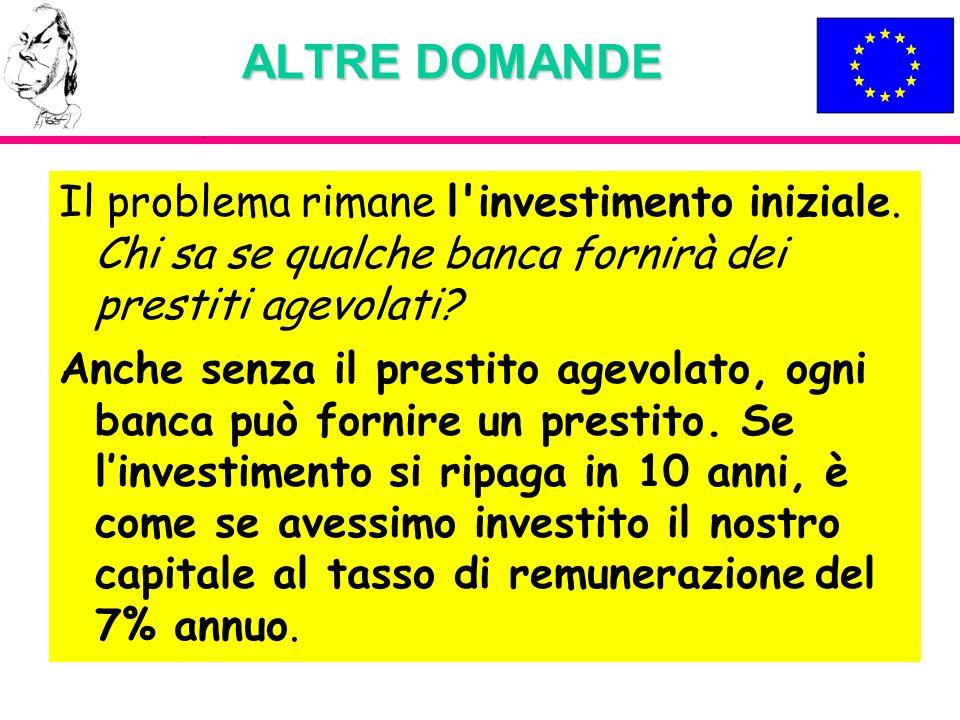 ALTRE DOMANDE Il problema rimane l investimento iniziale. Chi sa se qualche banca fornirà dei prestiti agevolati