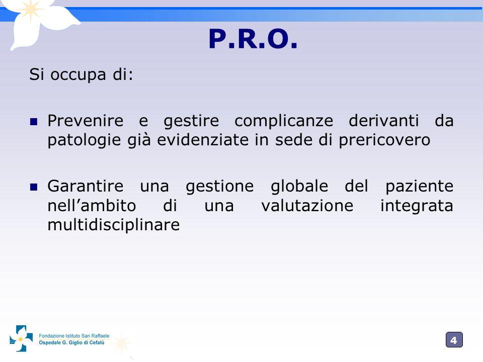 P.R.O. Si occupa di: Prevenire e gestire complicanze derivanti da patologie già evidenziate in sede di prericovero.
