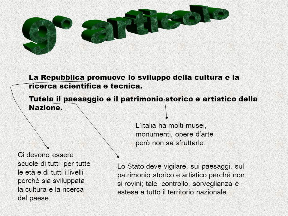 9° articolo La Repubblica promuove lo sviluppo della cultura e la ricerca scientifica e tecnica.