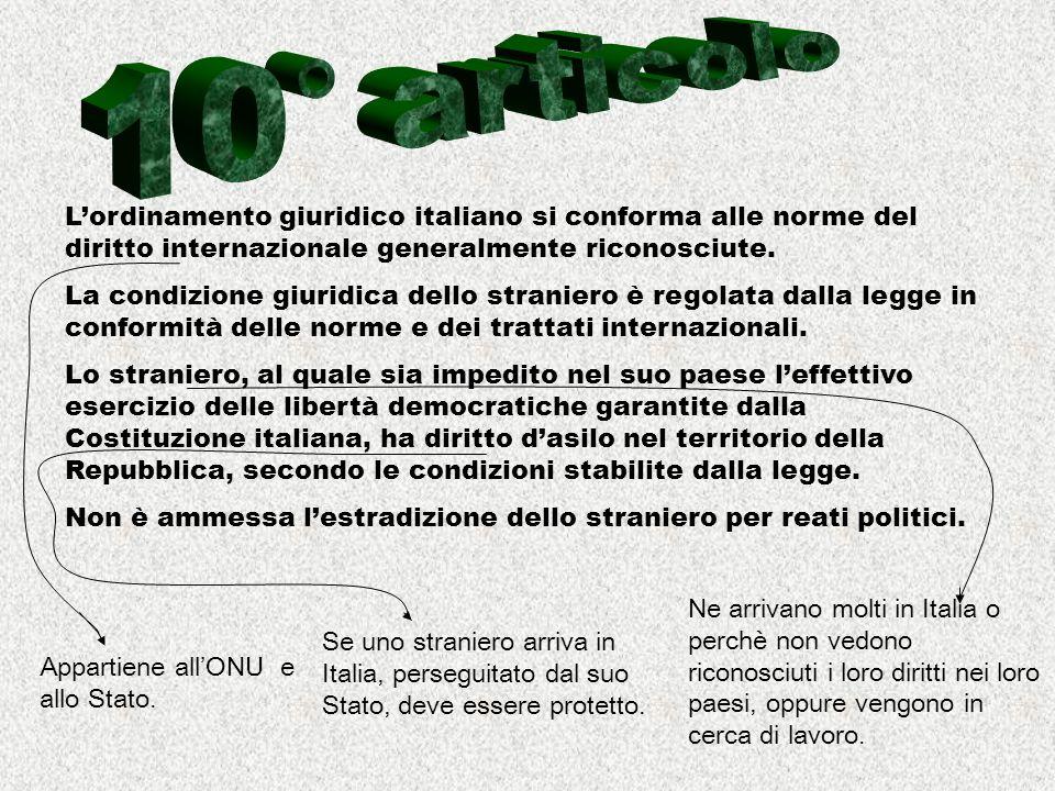 10° articolo L'ordinamento giuridico italiano si conforma alle norme del diritto internazionale generalmente riconosciute.