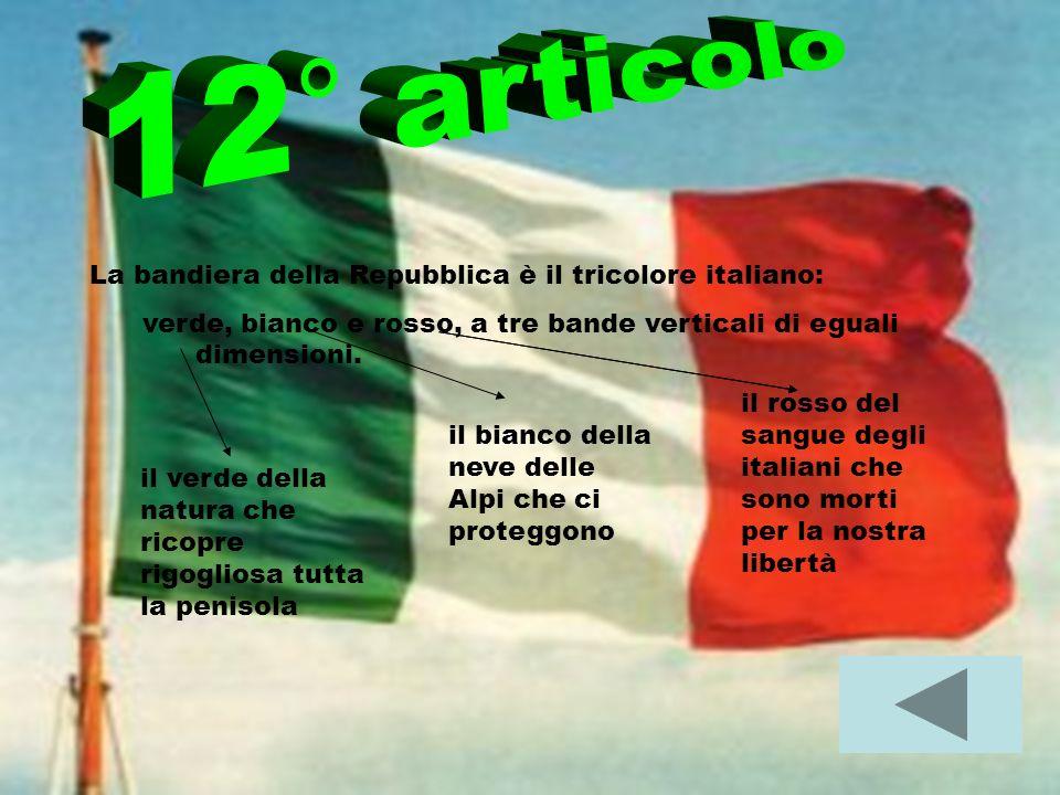 12° articolo La bandiera della Repubblica è il tricolore italiano:
