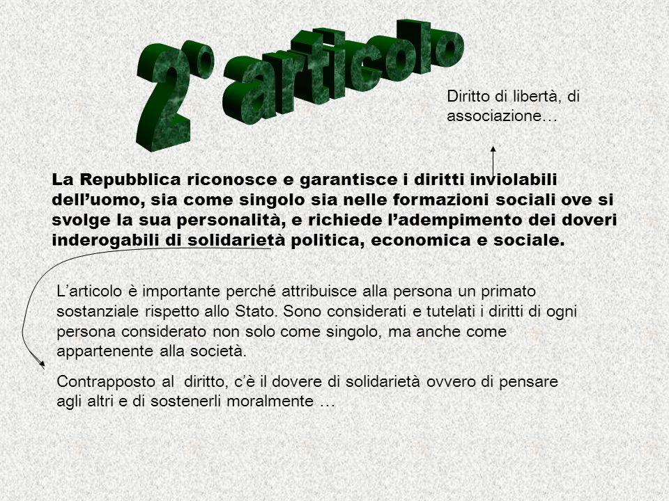 2° articolo Diritto di libertà, di associazione…