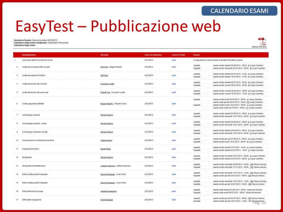 EasyTest – Pubblicazione web