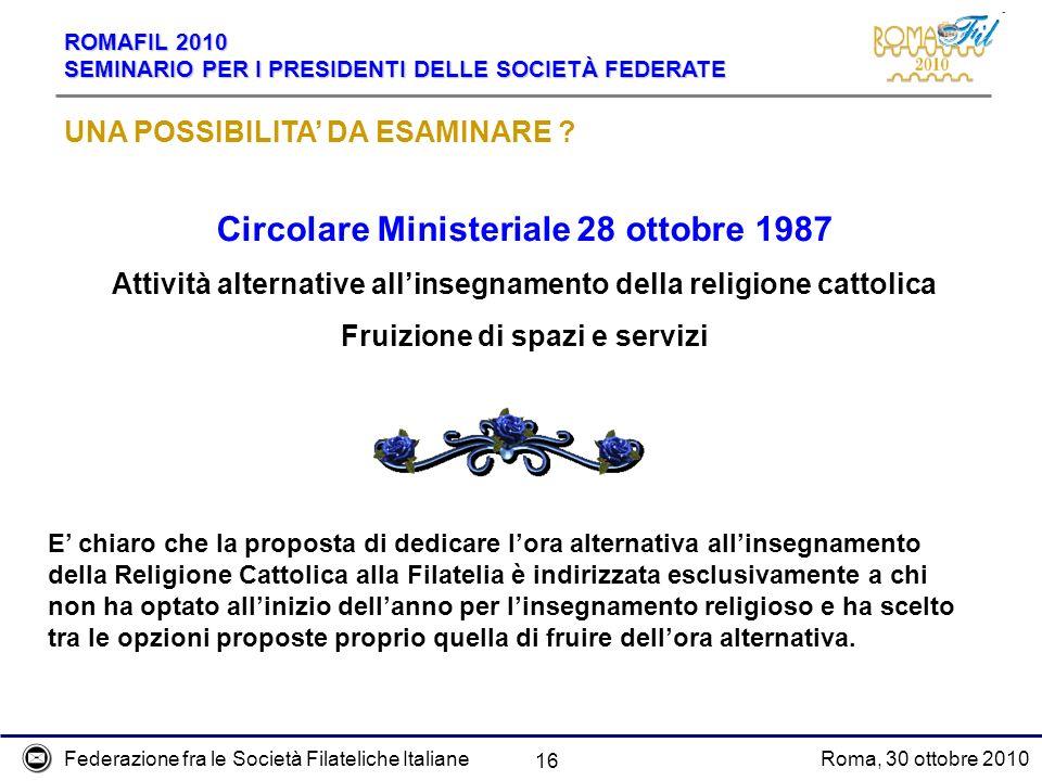 Circolare Ministeriale 28 ottobre 1987