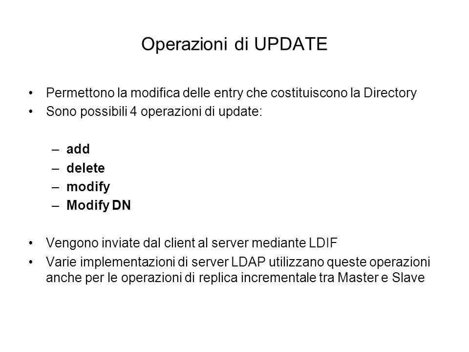 Operazioni di UPDATE Permettono la modifica delle entry che costituiscono la Directory. Sono possibili 4 operazioni di update: