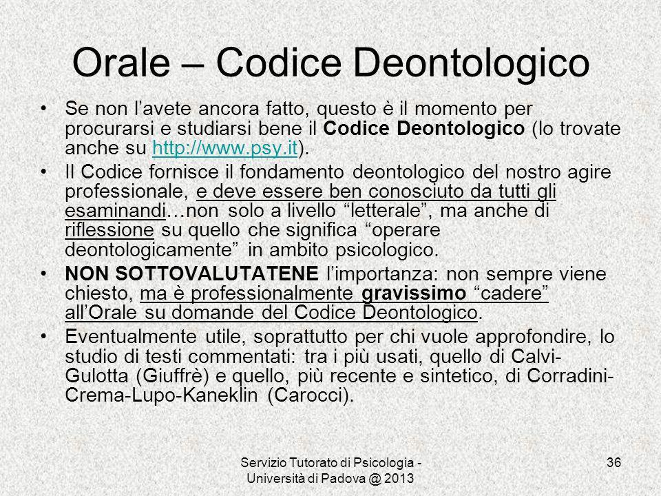 Orale – Codice Deontologico