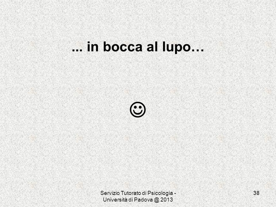 Servizio Tutorato di Psicologia - Università di Padova @ 2013