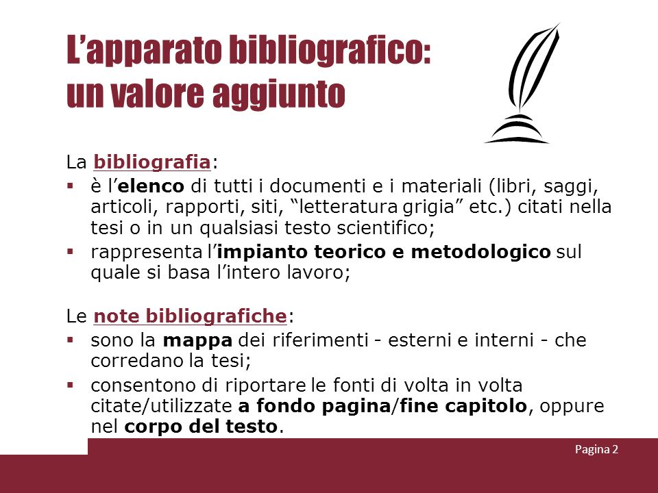 L'apparato bibliografico: un valore aggiunto