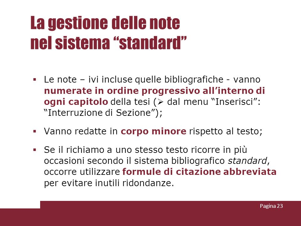 La gestione delle note nel sistema standard