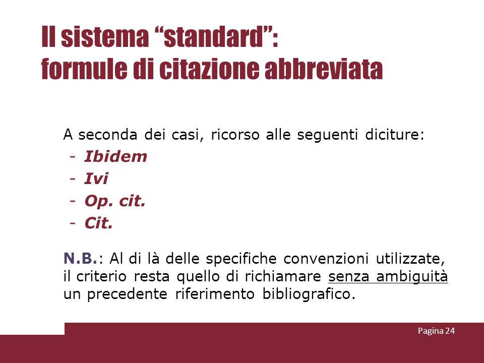 Il sistema standard : formule di citazione abbreviata