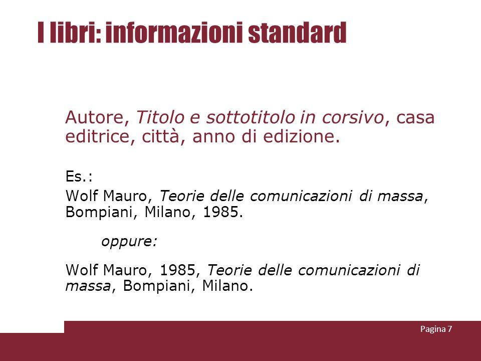 I libri: informazioni standard