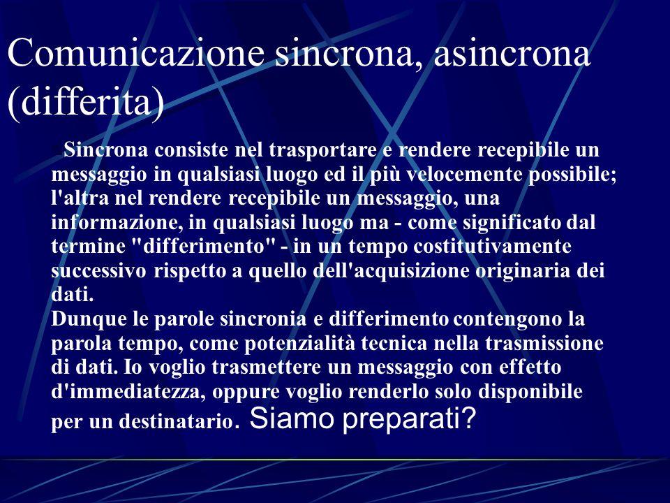 Comunicazione sincrona, asincrona (differita)