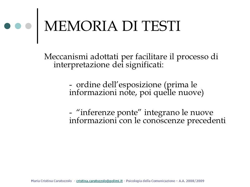 MEMORIA DI TESTI Meccanismi adottati per facilitare il processo di interpretazione dei significati: