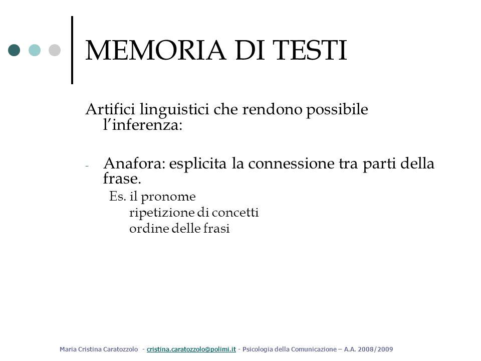 MEMORIA DI TESTI Artifici linguistici che rendono possibile l'inferenza: Anafora: esplicita la connessione tra parti della frase.