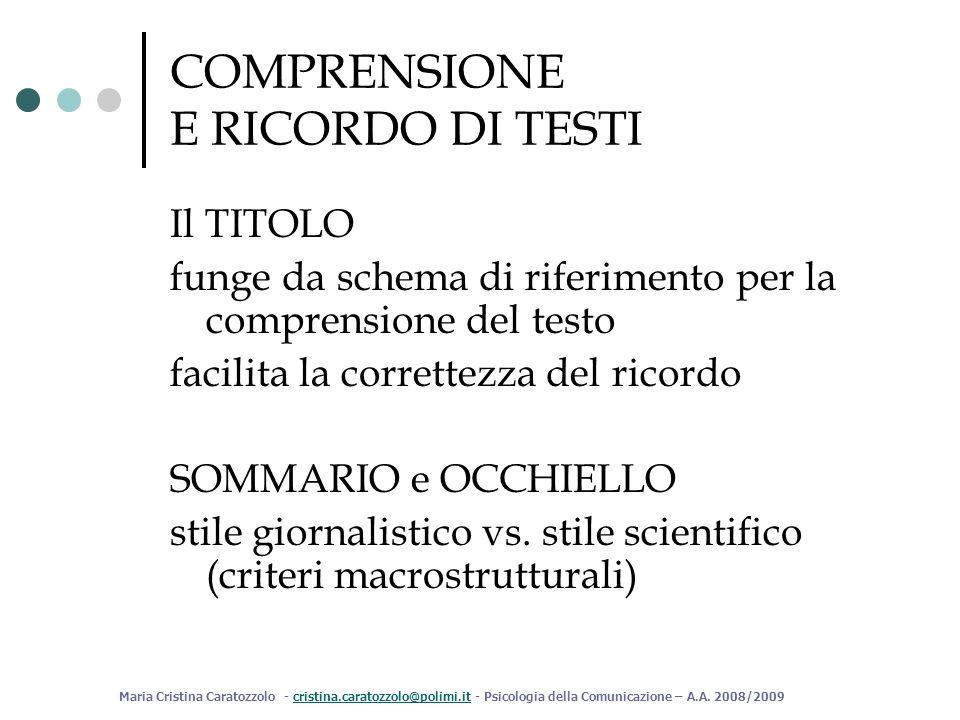 COMPRENSIONE E RICORDO DI TESTI