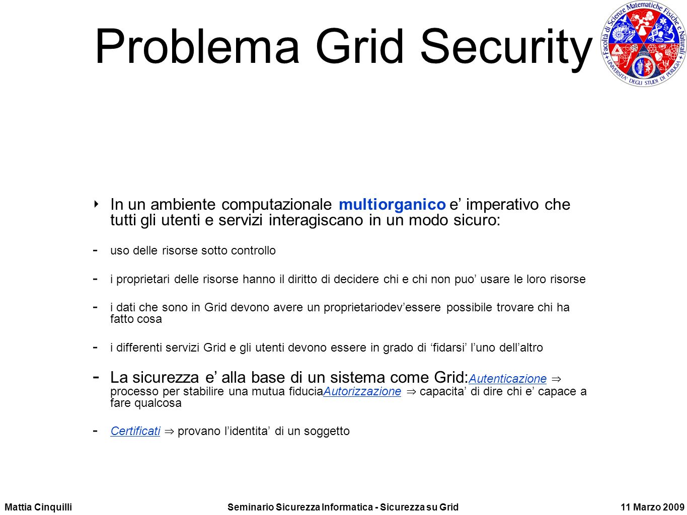 Problema Grid Security