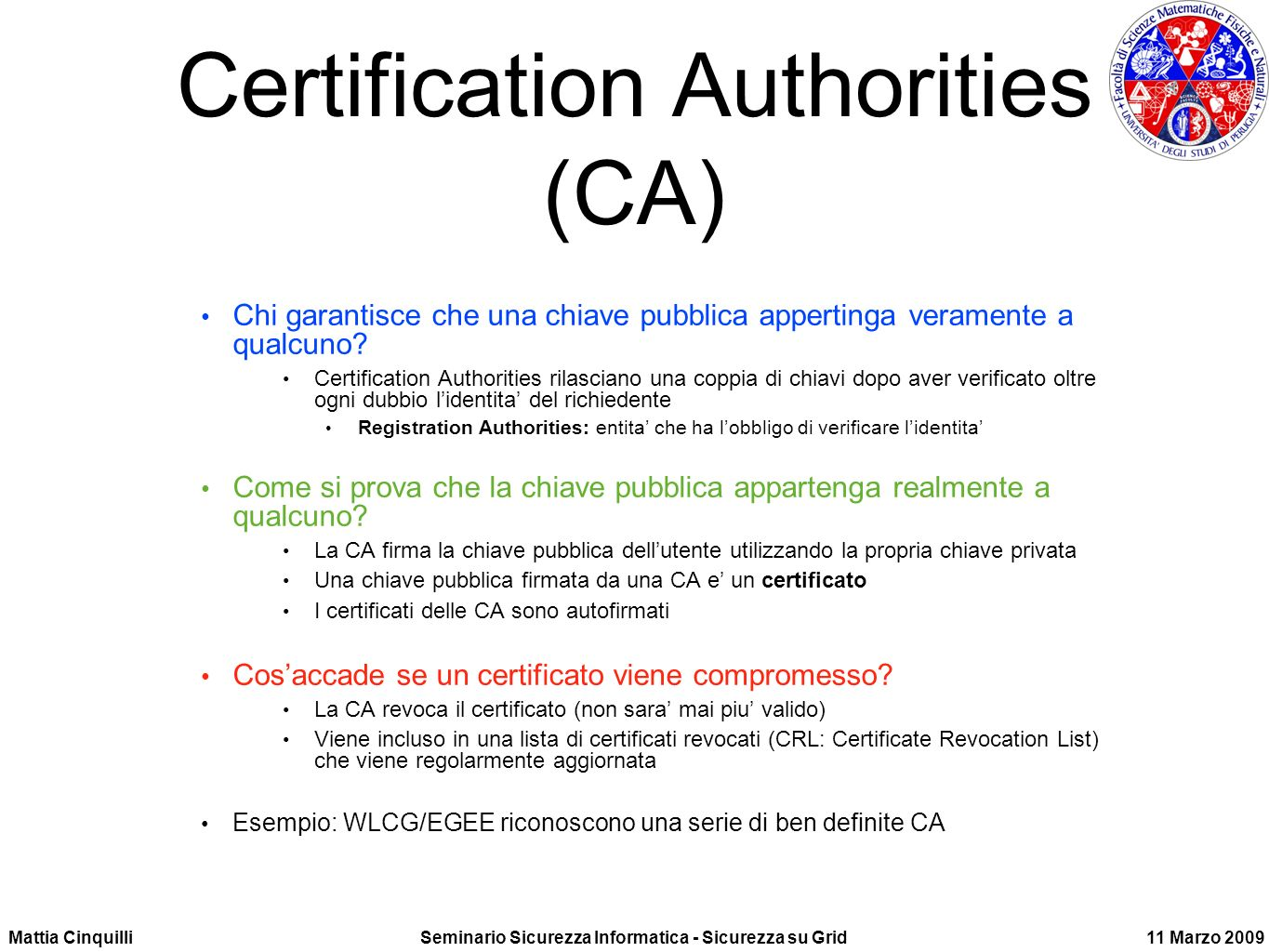Certification Authorities (CA)