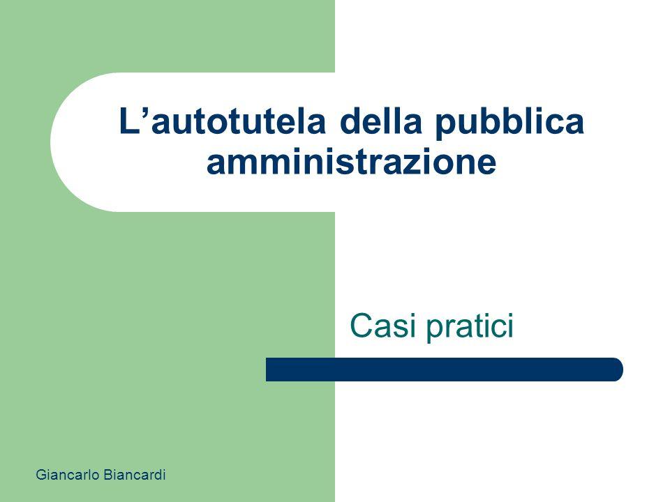 L'autotutela della pubblica amministrazione