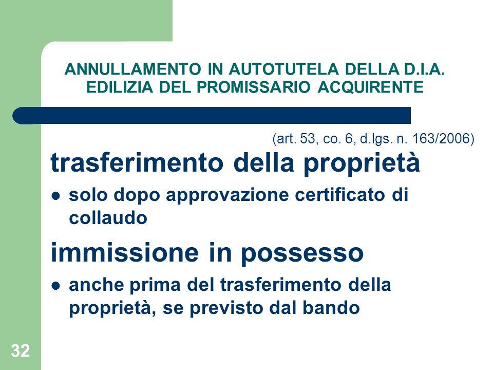 trasferimento della proprietà immissione in possesso