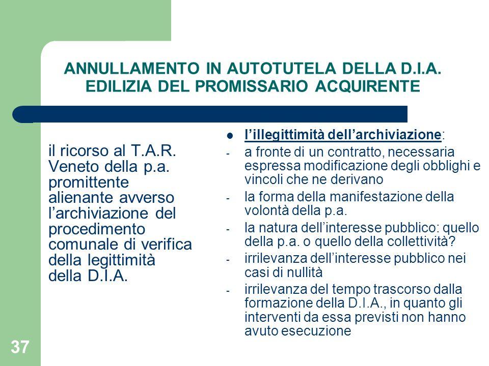ANNULLAMENTO IN AUTOTUTELA DELLA D. I. A