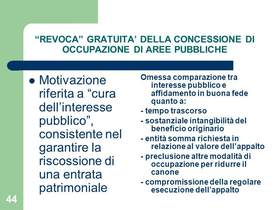 REVOCA GRATUITA' DELLA CONCESSIONE DI OCCUPAZIONE DI AREE PUBBLICHE