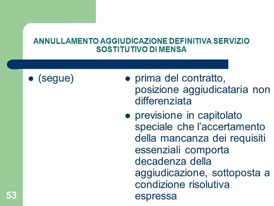 ANNULLAMENTO AGGIUDICAZIONE DEFINITIVA SERVIZIO SOSTITUTIVO DI MENSA