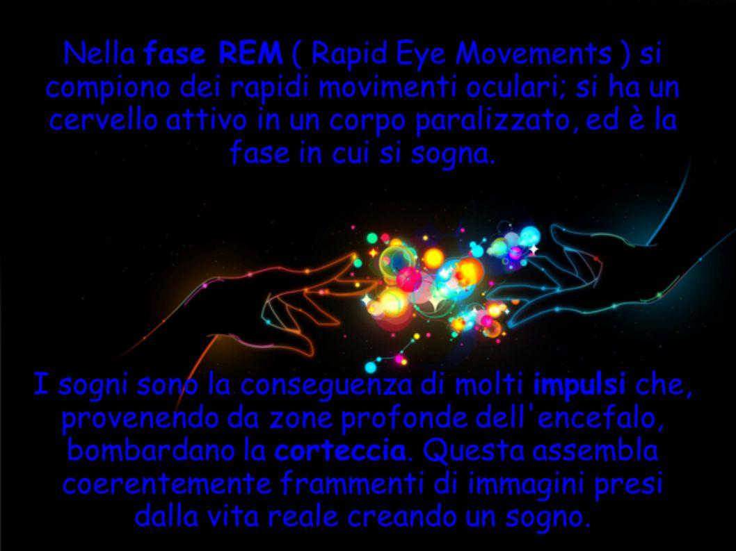 Nella fase REM ( Rapid Eye Movements ) si compiono dei rapidi movimenti oculari; si ha un cervello attivo in un corpo paralizzato, ed è la fase in cui si sogna.