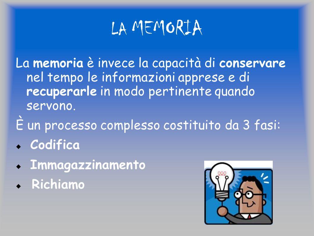 LA MEMORIA La memoria è invece la capacità di conservare nel tempo le informazioni apprese e di recuperarle in modo pertinente quando servono.