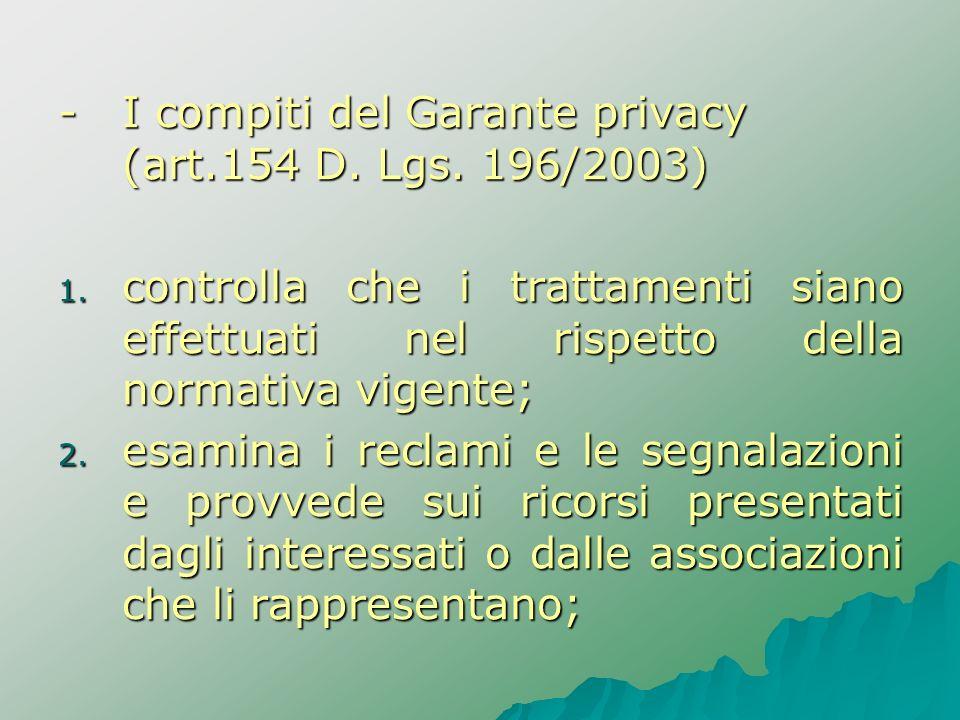 - I compiti del Garante privacy (art.154 D. Lgs. 196/2003)