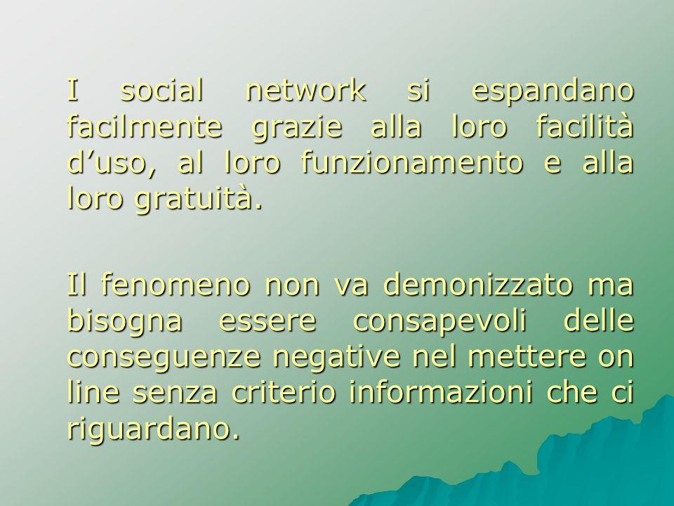 I social network si espandano facilmente grazie alla loro facilità d'uso, al loro funzionamento e alla loro gratuità.